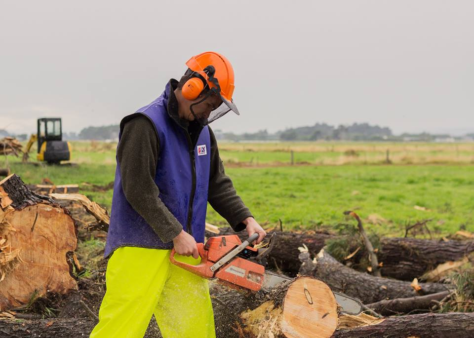 Forestry worker wearing protective rain gear