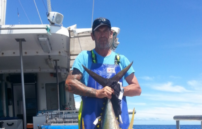 Tony 'TK' Walker from Cascade Fishing Charters with a Tuna