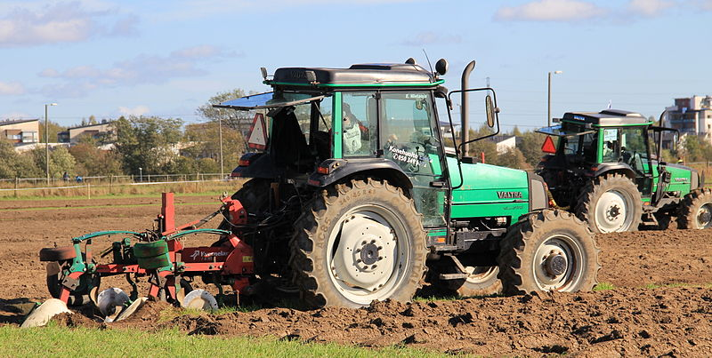 Tractor in ploughing competition.