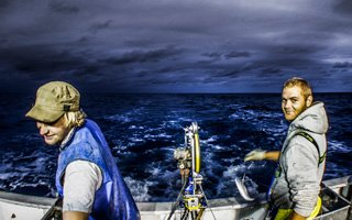 australian commercial proffesional fishermen wearing Stormline wet weather gear
