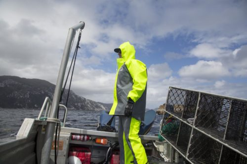 Image of foul weather gear for fishing in New Zealand