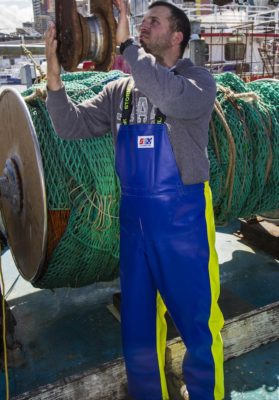 Crew 654 Commercial Fishing Raingear worn on a professional fisherman in Sydney, Australia