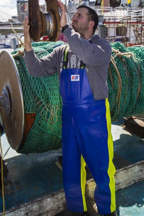 Crew 654 Commercial Fishing Raingear worn on a professional fisherman in Sydney, Australia