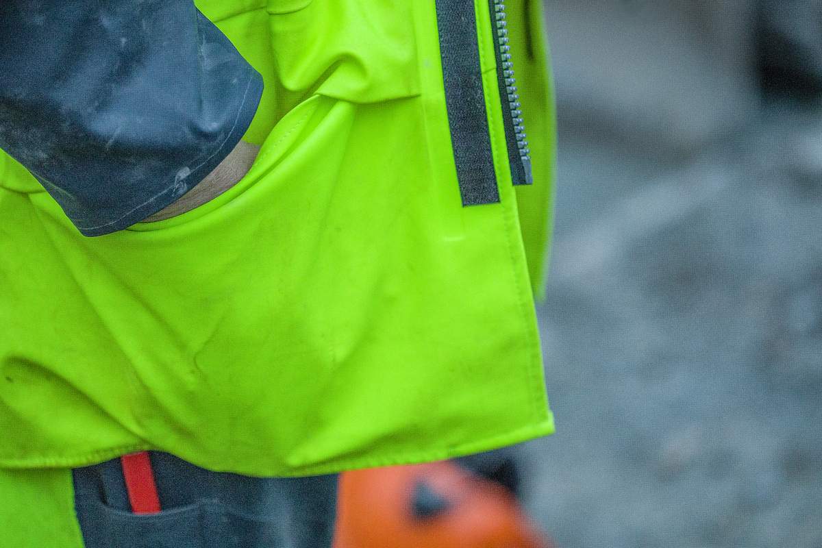front pockets on a class 3 construction rain gear jacket