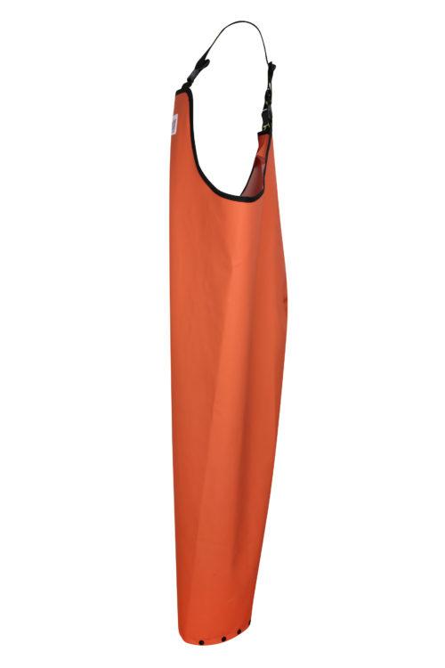 Stormtex 669O Orange PVC Commercial Rain Gear Bib and Brace side