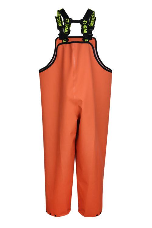 Stormtex 669O Orange PVC Commercial Rain Gear Bib and Brace back
